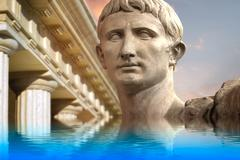 Statue of julius caesar augustus in rome, italy  ancient art reflected in a c Stock Illustration
