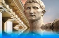 Statue of julius caesar augustus in rome, italy  ancient art reflected in a c Stock Illustration