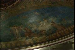 Teatro Amazonas Int Dome Ceiling Paintings Medium Shot Stock Footage