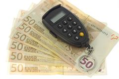 Set of euro banknotes and pin code - stock photo