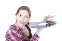 beautiful young girl and vinyl - stock photo