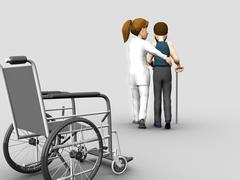Nurse helps a senior woman on crutches Stock Illustration