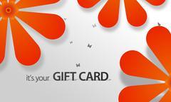 Stock Illustration of orange flower giftcard