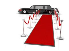 illustration of a vip red carpet leading with waiting limousine. - stock illustration