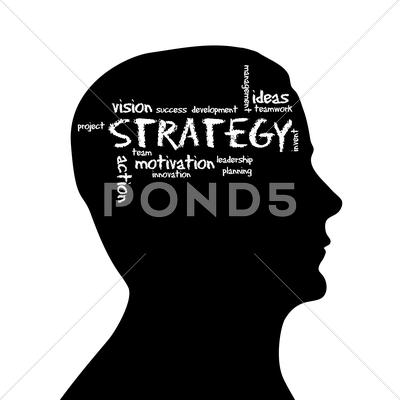 Stock Illustration of silhouette head - strategy