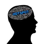 silhouette head - hotspot - stock illustration