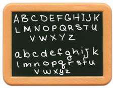 Child's Mini Chalkboard - Alphabet - stock photo