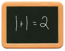 Child's Mini Chalkboard - 1+1=2 - stock photo