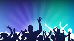 dancing crowd - stock illustration