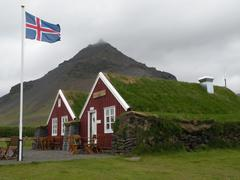 Sod roof building in Iceland Stock Photos