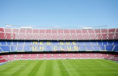 barcelona, spain april 26: fc barcelona (nou camp) football stadium in barcel - stock illustration