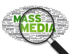 magnifying glass - mass media - stock illustration