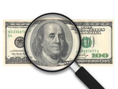 magnifying glass - 100 us dollars - stock illustration