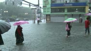 People Struggle Severe Flooding In Downtown Manila Philippines Stock Footage