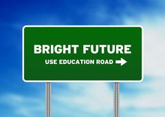 bright future highway sign - stock illustration