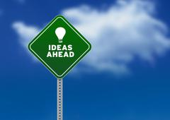 Ideas ahead road sign Stock Illustration