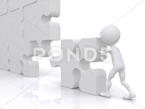 Stock Illustration of business teamwork - business person building a puzzle which was made in 3d
