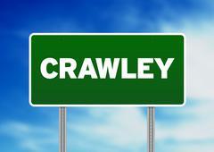 Green road sign -  crawley, england Stock Illustration