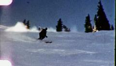 RACING DOWN SLOPE Snow Skiing Skier (Vintage Film Home Movie Footage) 3153 - stock footage