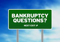 bankruptcy questions road sign - stock illustration
