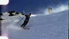 NO HELMET Downhill Snow Dangerous Skiing Skier Vintage Film Home Movie 3154 Stock Footage