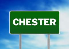 Green road sign -  chester, england Stock Illustration