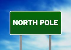 north pole highway  sign - stock illustration
