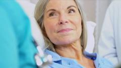 Senior Patient Care Being Recorded Wireless Tablet Stock Footage