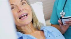 Senior Patient Care Being Recorded Wireless Tablet - stock footage