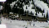Stock Video Footage of SKI LODGE Snow Skiing (Vintage Film Old Home Movie Footage) 3159