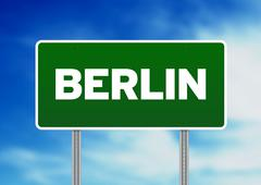 berlin road sign - stock illustration