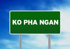 Green road sign - ko pha ngan, thailand Stock Illustration