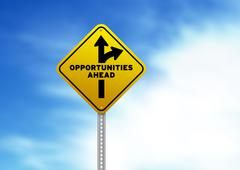 Opportunities ahead road sign Stock Illustration