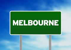 Green road sign -  melbourne, australia Stock Illustration