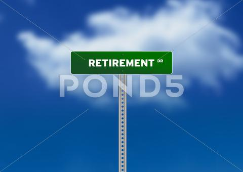 Stock Illustration of retirement road sign