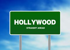 hollywood highway  sign - stock illustration
