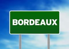 green road sign - bordeaux, france - stock illustration