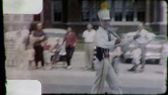 SERIOUS Man Twirls Baton MAJORETTE in Parade 1950s Vintage Film Home Movie 3165 Stock Footage