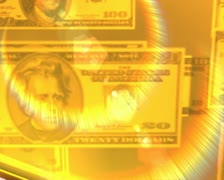 Computer animated imagery of a giant gold dollar sign with a reflections of cash Stock Footage