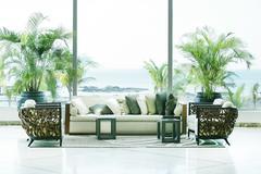 Sofas overlooking sea in playa bonita, panama. Stock Illustration