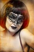 mysterious sexy woman with artistic style venetian mask - stock photo
