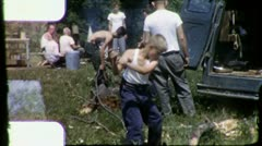 Little Boy CHOPPING WOOD CUB SCOUT Campout 1960s Vintage Film Home Movie 3174 Stock Footage