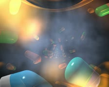 computer animated video clip of prescription drugs flying past a medical symbol - stock footage