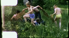 BOYS CUB SCOUTS Sunbathing Camping Campout 1960s Vintage Film Home Movie 3175 Stock Footage