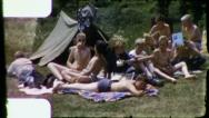 Stock Video Footage of BOY CUB SCOUT Sunbathing Campout 1960s (Vintage Retro Film Home Movie) 3176