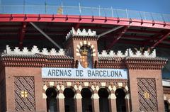 Barcelona  bull fighting arena sign in spain Stock Photos
