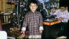 LITTLE BOY HAPPY DANCE Christmas Morning 1960s Vintage Film Home Movie 3180 Stock Footage