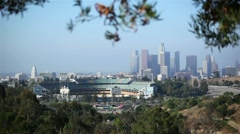 Dodgers Stadium And Downtown Los Angeles Stock Footage