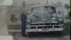 Man Washing CLASSIC CAR 1954 Chevrolet Delray Vintage Film Home Movie 3191a Stock Footage