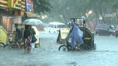 Extreme Urban Flooding In Downtown Manila Philippines Stock Footage